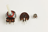 Electrical potentiometer resistors close up photography.