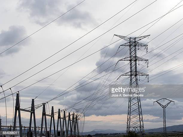 Electrical station and towers of high tension