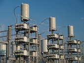 Detail of power connections at an electrical substation.Similar images from my portfolio: