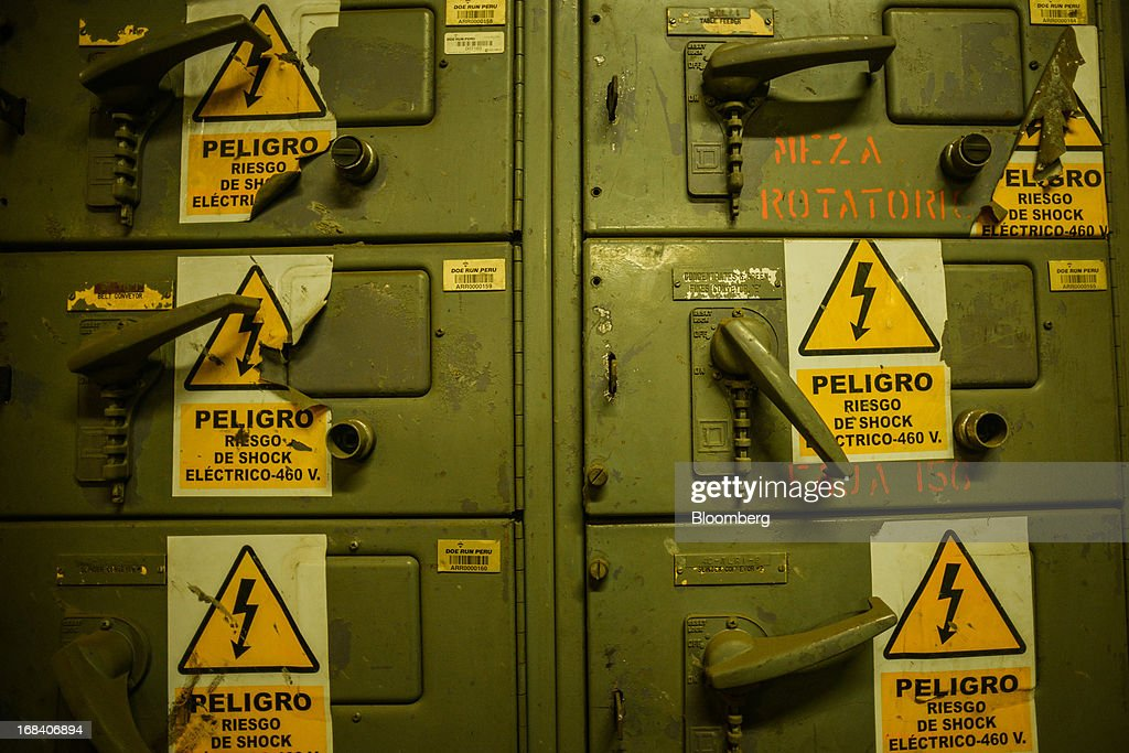 Electrical switches are seen inside the Doe Run Peru refinery in La Oroya, Peru, on Wednesday, March 20, 2013. Located high in the Andes Mountains of Peru, Doe Run Peru is a refinery that produces lead and zinc marketed for its purity, but the plant's home town of La Oroya suffers from the constant contamination of life-altering lead poisoning. Photographer: Meridith Kohut/Bloomberg via Getty Images