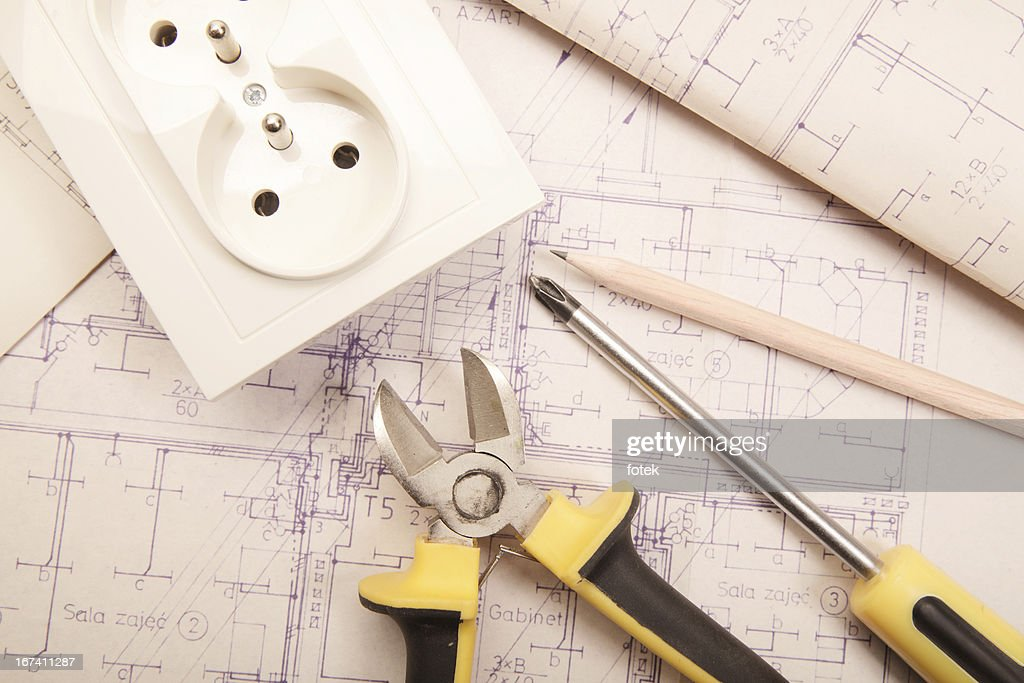 Electrical work : Stock Photo