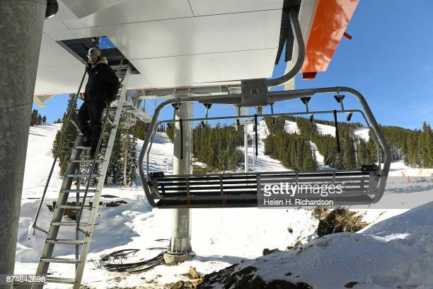 NEDERLAND CO NOVEMBER 9 Electrician Kyle Canham walks down from the lift terminal of the new multimillion dollar Doppelmayr 6 person high speed lift...