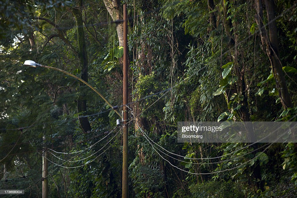 Electricity cables hang from a pole in Rio de Janeiro, Brazil, on Monday, July 15, 2013. Energy developers in Brazil will bid for contracts to sell electricity Dec. 13 from plants due to go into operation in five years, including a 700-megawatt hydropower project in the Amazon. Photographer: Dado Galdieri/Bloomberg via Getty Images