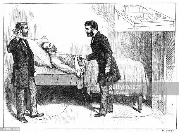 'Electricity In The Art Of Healing' 1881 US President James Garfield has medical attention from an electrical detector Illustration from Adventures...