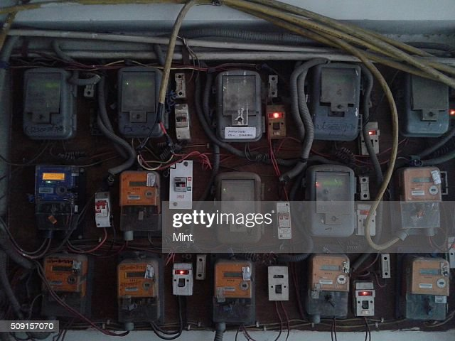 Electricity meters providing power supply in houses on March 10, 2014 in New Delhi, India.