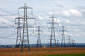 Electricity power transmission line pylons