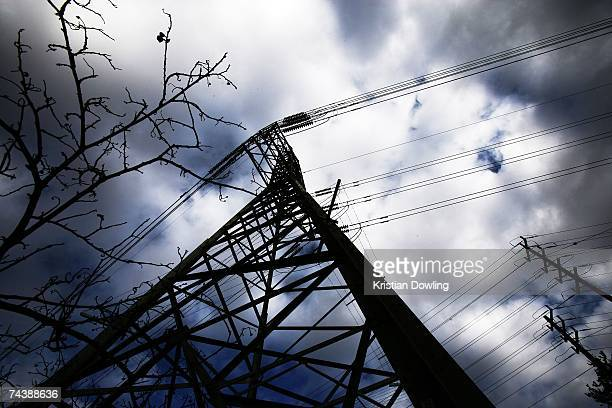 Electricity powerlines hang over the CERES Sustainability Centre June 4 2007 in Melbourne Australia The CERES site has displays and functional...