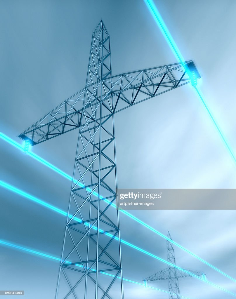 Electricity Pylon and glowing Power Lines : Stock Photo