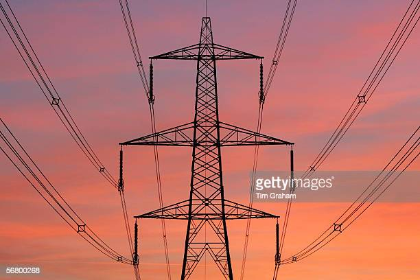 Electricity pylon and power cables near Burbage Leicestershire United Kingdom