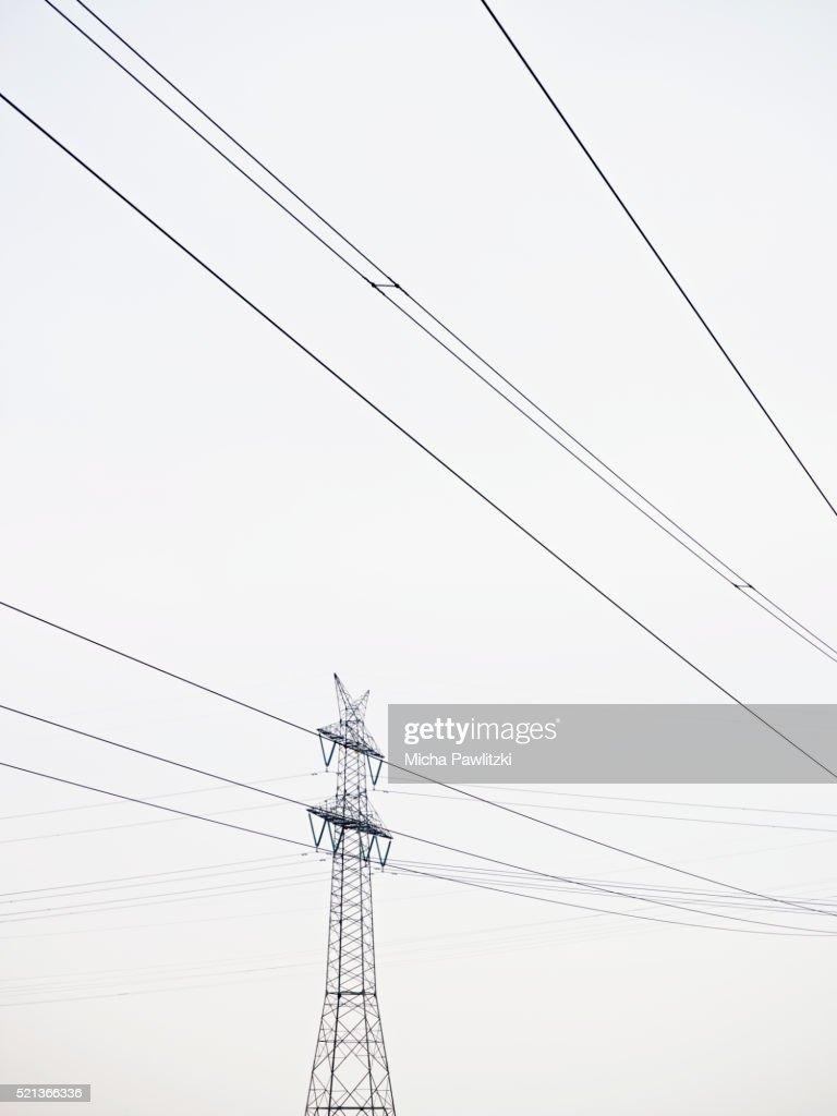Electricity Pylon and Power Lines near Hamburg, Germany