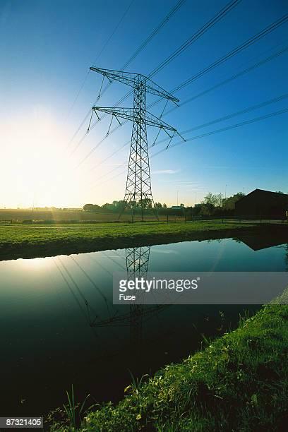 Electricity pylon in rural region