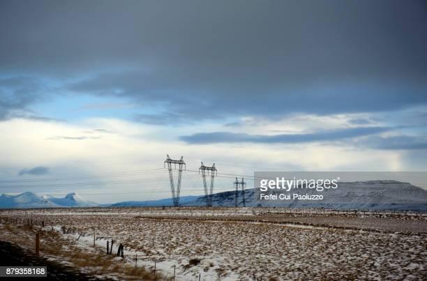 Electricity pylon near Borgarnes, Iceland