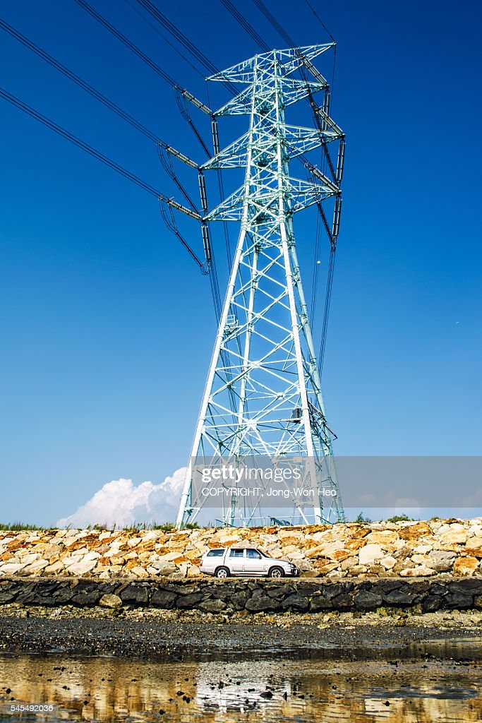 A electricity pylon on the stone hummock