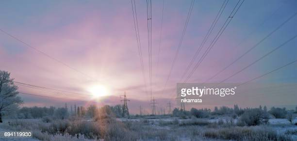Electricity Pylons in the Winter Countryside