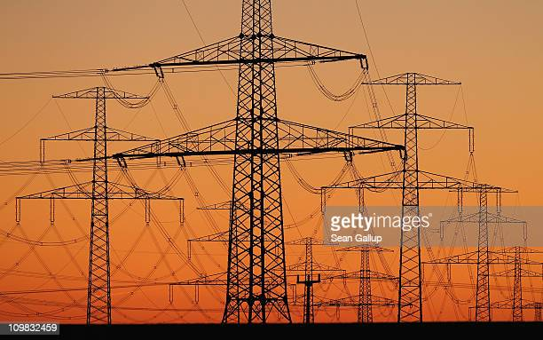 Electricity pylons stand at sunset on March 7 2011 near Guestrow Germany According to a recent report partially funded by the German government...