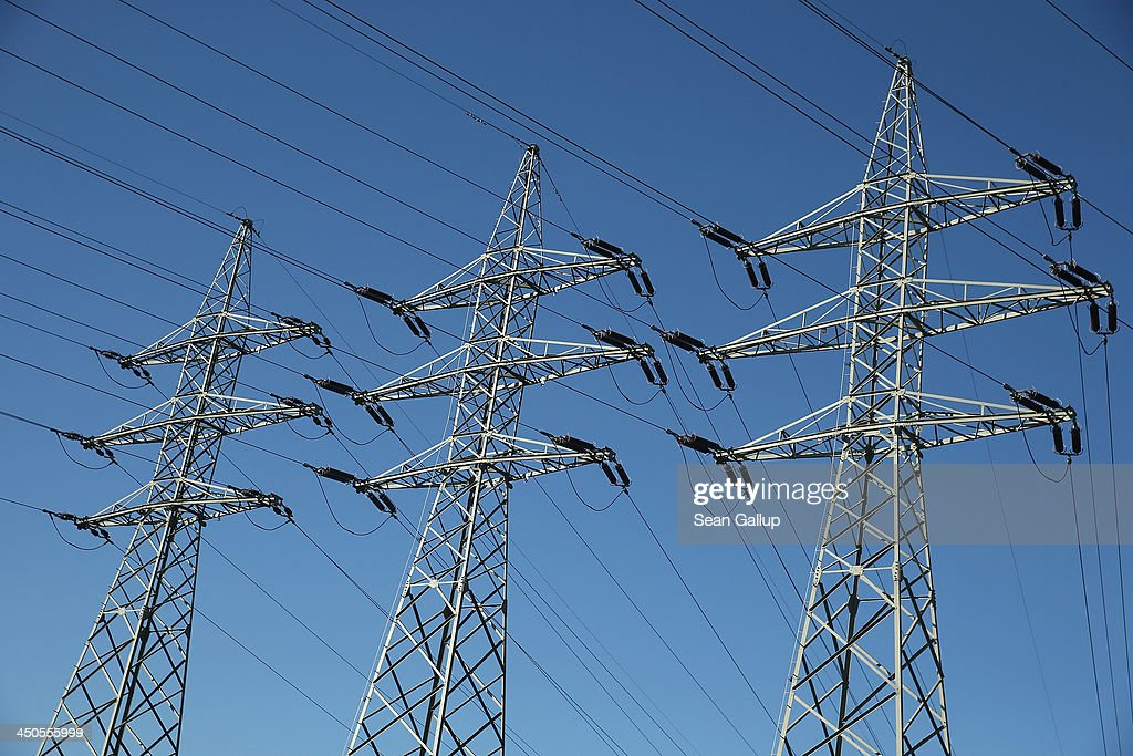Electricity pylons stand on October 31, 2013 near Peitz, Germany. According to media reports electricity prices in Germany will climb by an average of 3.3% in 2014.