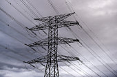 A electricity transmission pylon stands on February 17 2015 near Figueres Spain France and Spain inaugurate the newly combined electrecity project on...