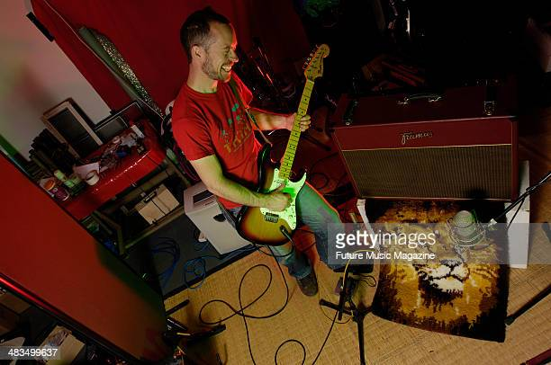 Electro musician Robbie Stamp creating rock music sounds for sampling with a Fender Stratocaster guitar and Framus Ruby Riot amp session for Future...