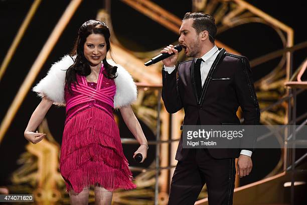 Electro Velvet of United Kingdom performs on stage during rehearsals ahead of the Eurovision Song Contest 2015 on May 20 2015 in Vienna Austria The...