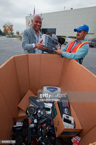 Electronic and computer equipment is sorted and recycled at Sony offices in Carson California as part of America Recycles Day on November 15 2012...