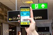 Electronic Boarding Pass on the screen of your smartphone. Concept of modern travel.