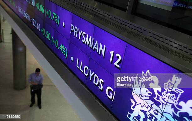 Electronic boards showing the FTSE market information is seen inside the London Stock Exchange Group Plc's headquarters in London UK on Tuesday Feb...
