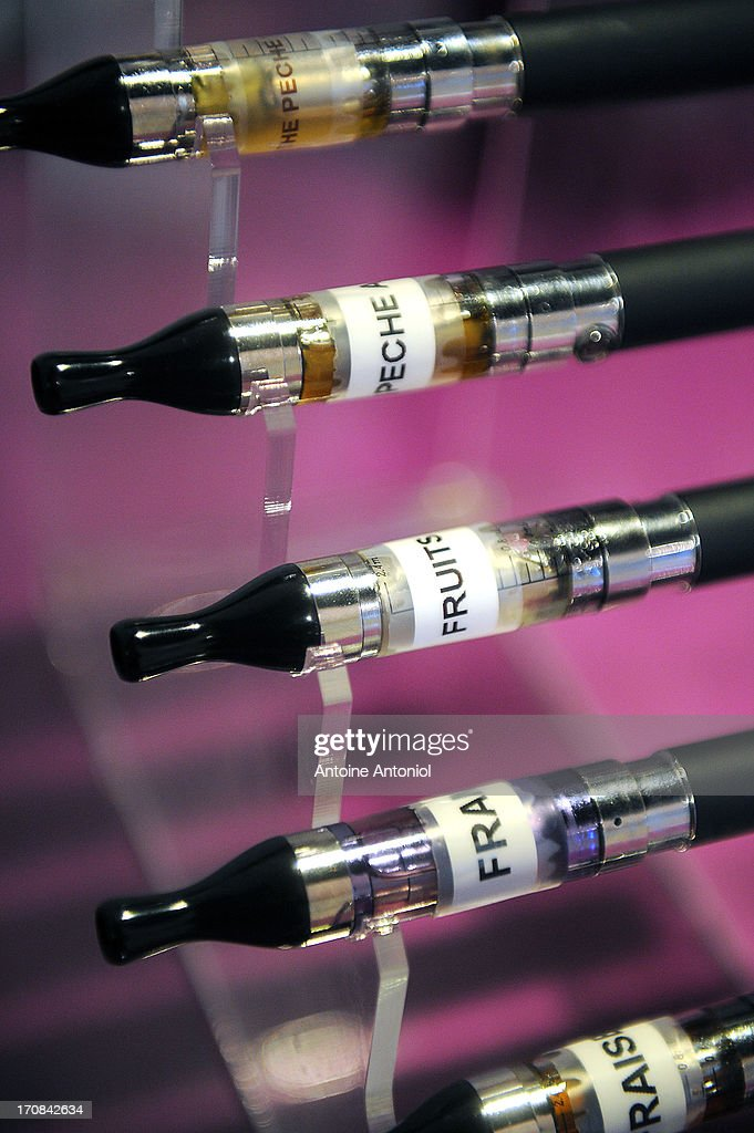 Electronic cigarettes sit on display at a store on June 19, 2013 in Paris, France. French Social Affairs and Health Minister Marisol Touraine announced the government's intention to ban the electronic cigarette in public places and for smokers under 18 years.