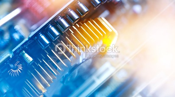 Electronic circuit and colorful computer mainboard : Stock Photo