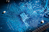Electronic circuit board close up. blue PCB