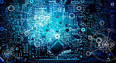 Abstract, Electronic circuit network grunge background