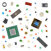 Various electronic components on white background