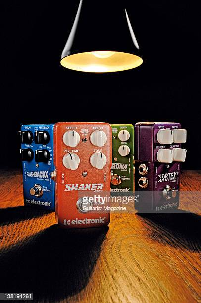 TC Electronic Flashback delay and looper Shaker vibrato Corona chorus and Vortex flanger Group of electric guitar effects pedals During a studio...