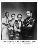 Electronic funk group World Class Wreckin' Cru Lr Dr Dre DJ Yella CliNTel and Lonzo 'Grandmaster' pose for a publicity photo circa 1985 in Los...