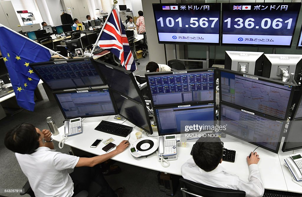Electronic indicators show foreign exchange rates against the pound (top R, 136.61 yen) and against the US dollar (top L, 101.567 yen) at a foreign exchange brokerage in Tokyo on June 27, 2016. The pound was sitting at three-decade lows June 27 morning as currency markets were left reeling from Britain's shock decision to leave the European Union. / AFP / KAZUHIRO