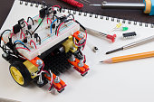 STEM or DIY Electronic Kit , Line tracking robot competition ideas. closeup.STEM or DIY Electronic Kit , Line tracking robot competition ideas. closeup.