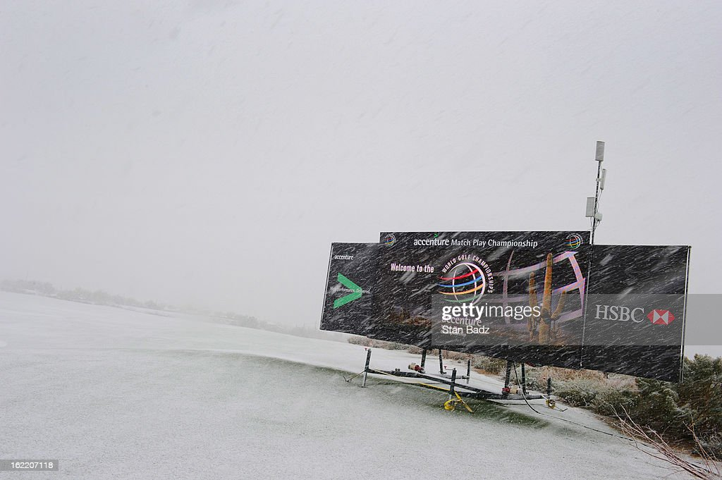 A electronic leaderboard is showered by snow on the practice range as snow and rain caused play to be suspended due to weather during the first round of the World Golf Championships-Accenture Match Play Championship at The Golf Club at Dove Mountain on February 20, 2013 in Marana, Arizona.