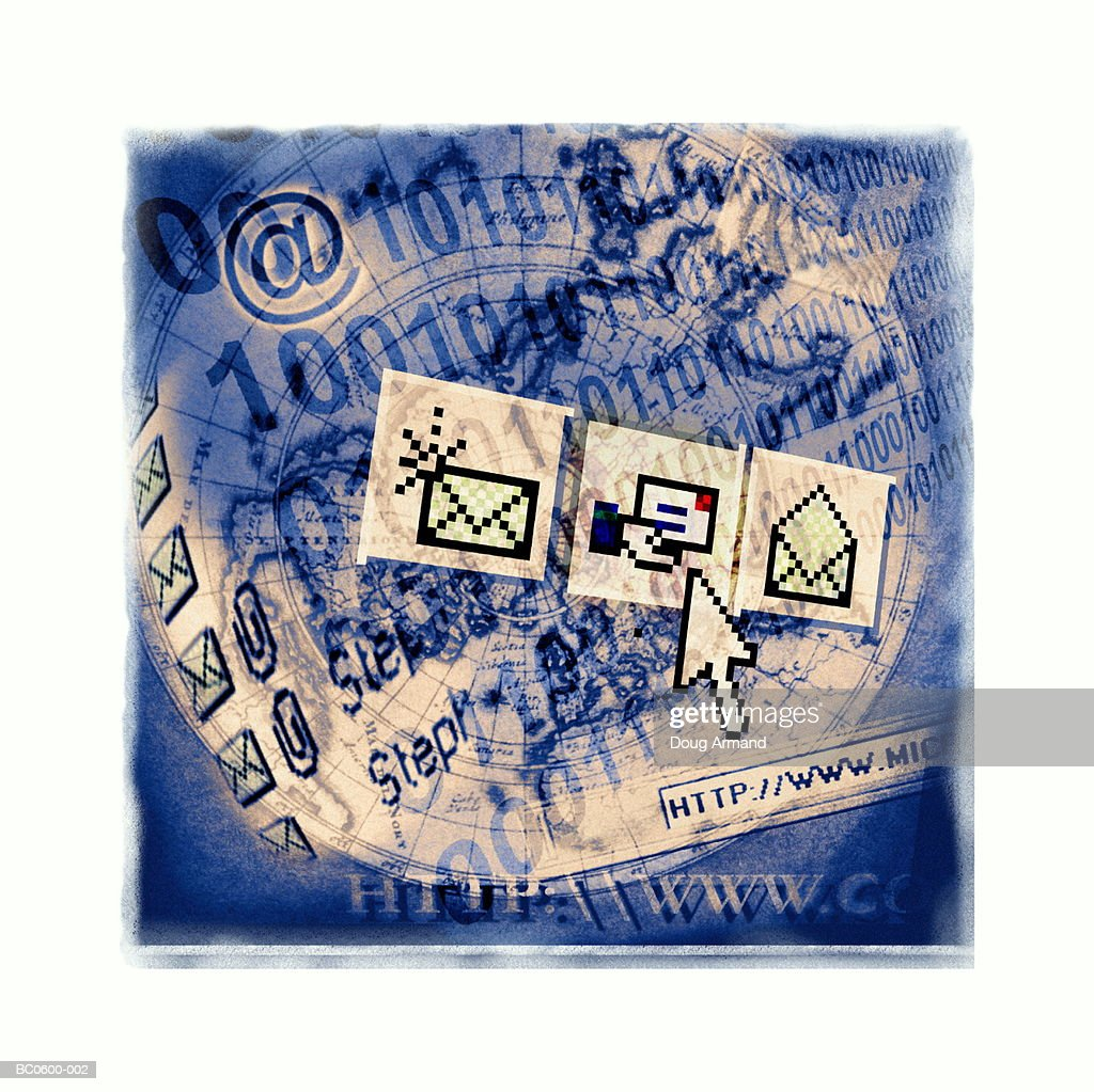 Electronic mail icons and binary code on world map (Composite) : Stock Photo