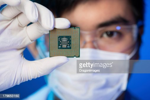 Electronic microchip : Stock Photo