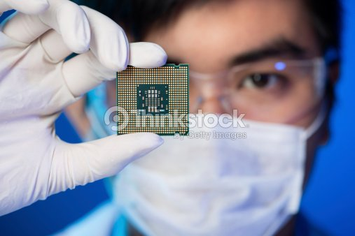Electronic microchip : Stock Photo