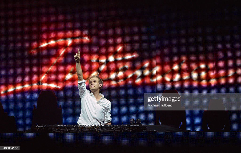 Electronic music artist <a gi-track='captionPersonalityLinkClicked' href=/galleries/search?phrase=Armin+van+Buuren&family=editorial&specificpeople=801189 ng-click='$event.stopPropagation()'>Armin van Buuren</a> performs on his 'Armin Only: Intense' world tour at The Forum on May 9, 2014 in Inglewood, California.