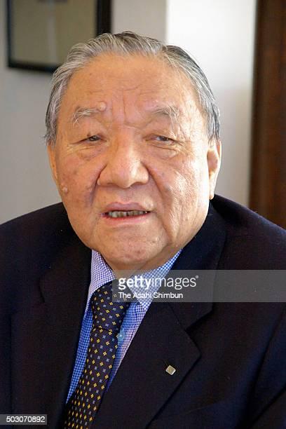 Electronic music instruments manufacturer Roland founder Ikutaro Kakehashi speaks during the Asahi Shimbun interview on November 8 2006 in Hamamatsu...