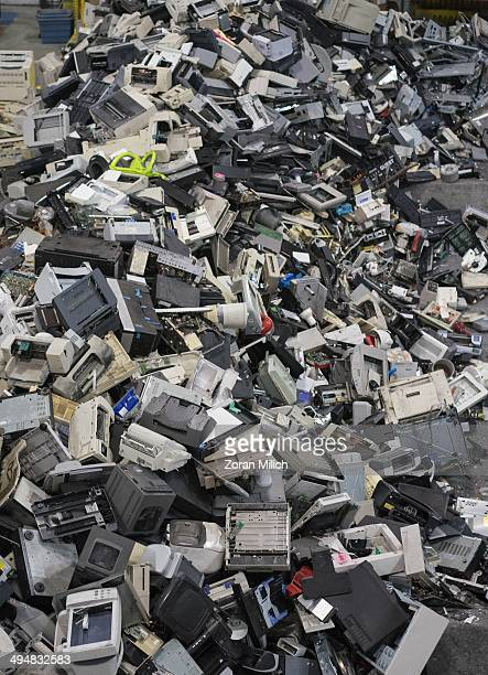 Electronic recyclable waste awaits to disassembled at the Electronic Recyclers International plant in Holliston Massachusetts USA