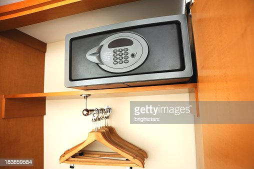 Electronic safe in hotel's wardrobe