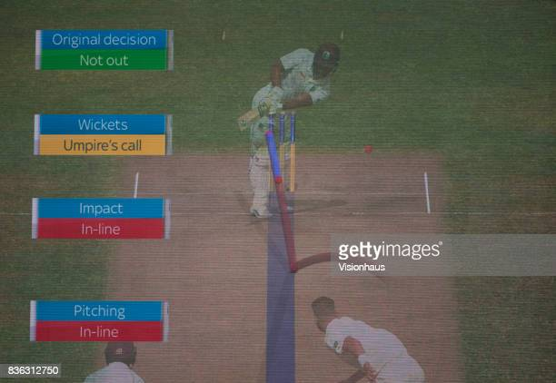 Electronic scoreboard showing ball tracking facility in use during a DRS appeal during day three of the 1st Investec test match between England and...