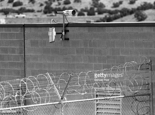 Electronic sensors on the wall at Canon City Prison Fence shouldn't come into wall according to prison officials Credit The Denver Post
