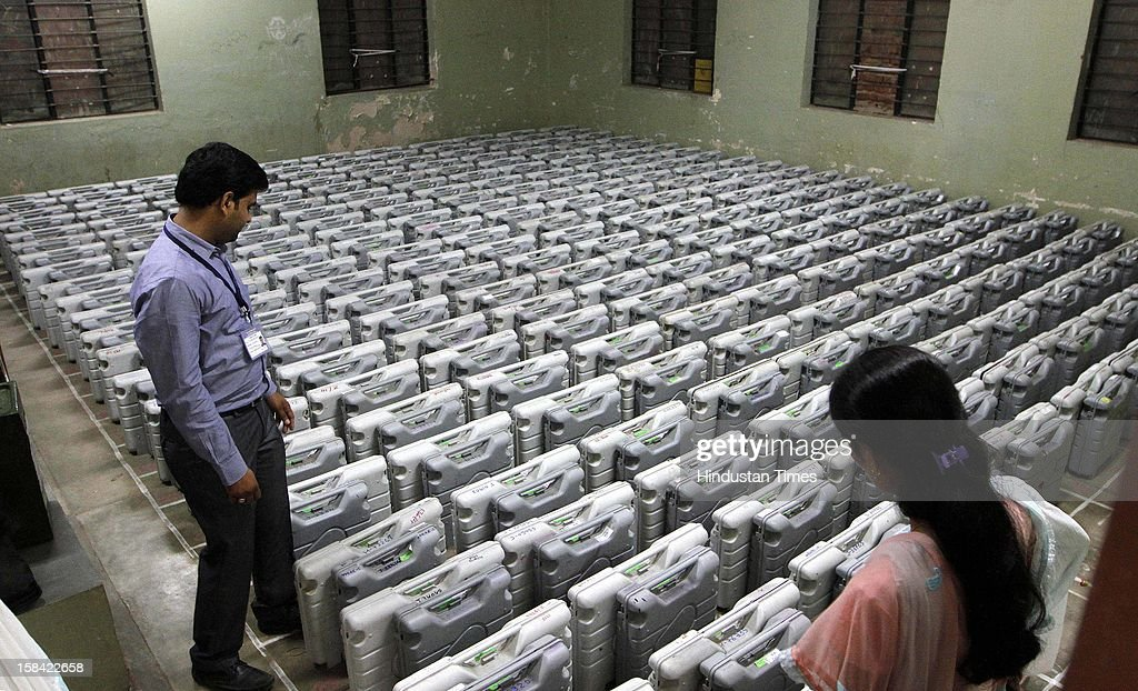 Electronic Voting Machines (EVM) kept in order for distribution for the last phase of Assembly poll of Gujarat on December 16, 2012 in Ahmedabad, India.