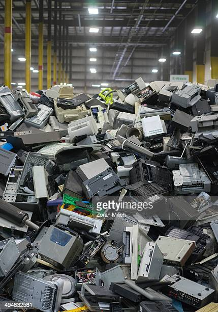 Electronic waste awaiting to be dismantled as recyclable waste at the Electronic Recyclers International plant in Holliston Massachusetts USA