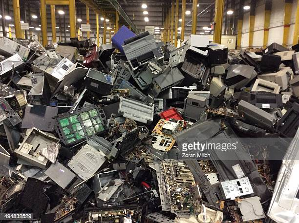 Electronic waste awaiting to be dismantles as electronic recyclable waste at the Electronic Recyclers International plant in Holliston Massachusetts...
