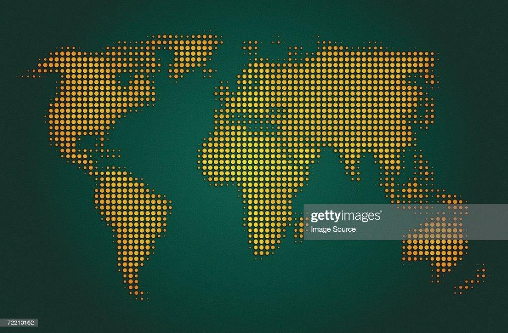 Electronic world map : Stock Photo
