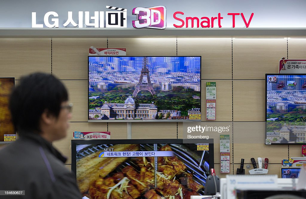 LG Electronics Inc. Cinema 3D televisions are displayed for sale at an electronics store in Seoul, South Korea, on Tuesday, Oct. 23, 2012. LG is scheduled to release third-quarter earnings today. Photographer: SeongJoon Cho/Bloomberg via Getty Images